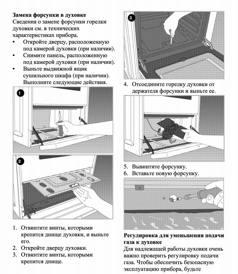 Схема замены жиклера в духовке